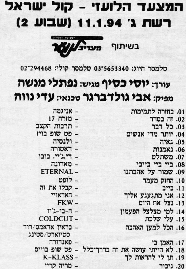 המצעד הלועזי של רשת ג' – 11.1.1994